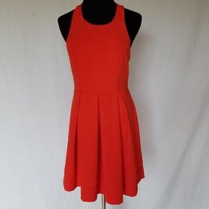 LULU'S RED OPEN BACK SKATER DRESS MEDIUM.